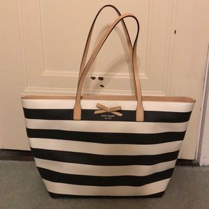 Kate Spade Black and White Striped Tote